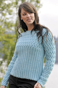 Cascade Yarns®  Free 220 Superwash®  pattern DK157 Woman's Wave of Ribs pullover/sweater